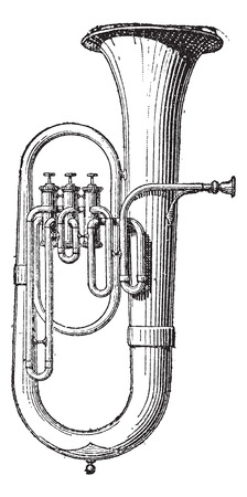 Old engraved illustration of Saxhorn isolated on a white background. Dictionary of words and things - Larive and Fleury ? 1895