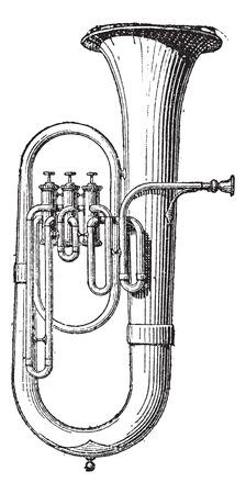 instruments de musique: Vieille illustration grav�e du saxhorn isol� sur un fond blanc. Dictionnaire des mots et des choses - Larive et Fleury? 1895
