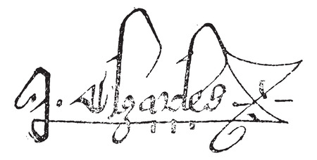 charles: Signature of Charles V, King of France, (1337-1380), vintage engraved illustration. Dictionary of words and things - Larive and Fleury - 1895.