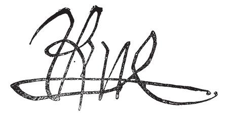 anjou: Firma de Ren� y Ren� I de Anjou (el buen rey Ren�) (1408-1480), a�ada una ilustraci�n grabada. Diccionario de palabras y las cosas - Larive y Fleury - 1895. Vectores