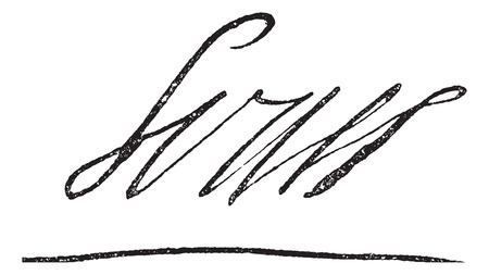 Signature of Louis XIV or Louis the Great or Sun King, King of France (1638-1715), vintage engraved illustration. Dictionary of words and things - Larive and Fleury - 1895. Illustration