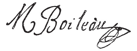 literature: Signature of Nicolas Boileau-Despreaux (1636-1711), vintage engraved illustration. Dictionary of words and things - Larive and Fleury - 1895. Illustration