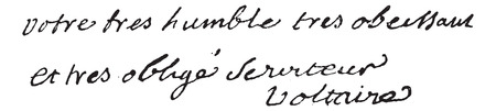 prose: Signature of Francois-Marie Arouet or Voltaire (1694-1778), vintage engraved illustration. Dictionary of words and things - Larive and Fleury - 1895.