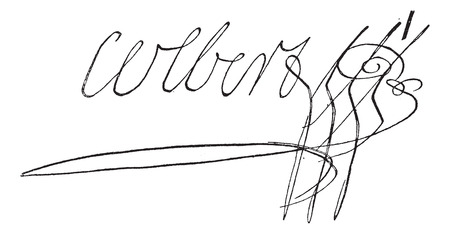 charlotte: Signature of Marie-Anne Charlotte Corday dArmont or Charlotte Corday (1768-1793), vintage engraved illustration. Dictionary of words and things - Larive and Fleury - 1895.