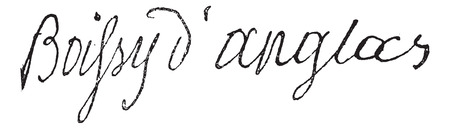 Signature of François Antoine de Boissy d'Anglas (1756-1826), vintage engraved illustration. Dictionary of words and things - Larive and Fleury - 1895. Vettoriali