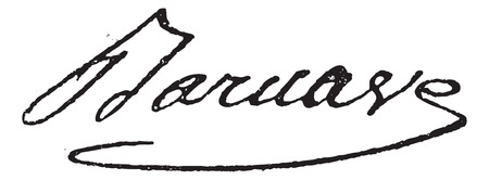 influential: Signature of Antoine Pierre Joseph Marie Barnave (1761-1793), vintage engraved illustration. Dictionary of words and things - Larive and Fleury - 1895.