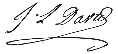 Signature of Jacques-Louis David (1748-1825), vintage engraved illustration. Dictionary of words and things - Larive and Fleury - 1895. Illustration