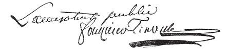 Antoine クエンティン ・ Fouquier ・ デ ・ Tinville (1747 年-1795 年) の署名のヴィンテージには、図が刻まれています。言葉・事・辞典 Larive ・ フルーリ - 18