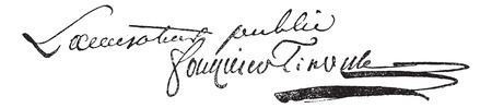17th: Signature of Antoine Quentin Fouquier de Tinville (1747-1795), vintage engraved illustration. Dictionary of words and things - Larive and Fleury - 1895.
