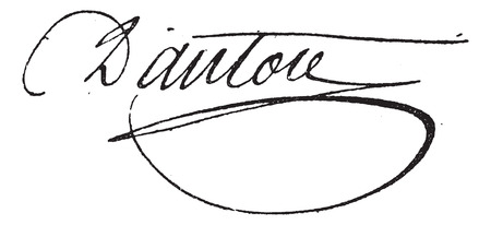 georges: Signature of Georges Jacques Danton (1759-1794), vintage engraved illustration. Dictionary of words and things - Larive and Fleury - 1895.