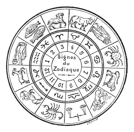 astrology signs: Signs of the Zodiac, vintage engraved illustration. Dictionary of words and things - Larive and Fleury - 1895.