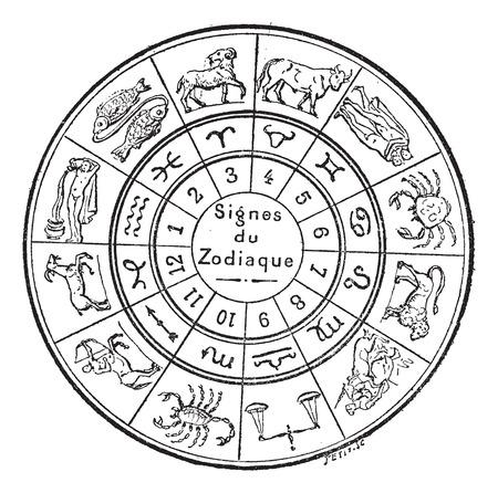 astrologie: Zeichen des Tierkreises, Jahrgang gravierte Darstellung. Wörterbuch der Wörter und Dinge - Larive und Fleury - 1895.