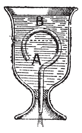 Old engraved illustration of a diagram of Bottle Siphon isolated on a white background. Dictionary of words and things - Larive and Fleury - 1895