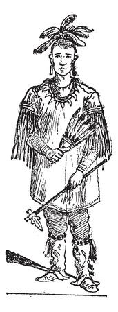 Ilustración del Antiguo grabado Sioux persona de pie. Diccionario de palabras y las cosas - Larive y Fleury - 1895 Ilustración de vector