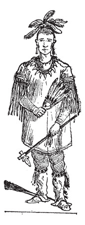 american history: Old engraved illustration of Sioux person standing. Dictionary of words and things - Larive and Fleury - 1895