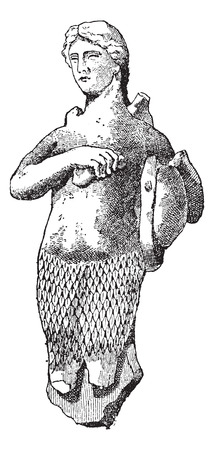 dangerous woman: Old engraved illustration of Siren statue on the marbles of Athens, isolated on a white background. Dictionary of words and things - Larive and Fleury - 1895