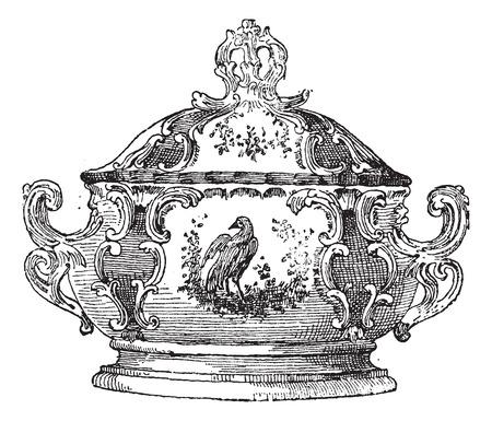 Terrine, een schaal voor voedsel, vintage gegraveerde illustratie. Woordenboek van woorden en dingen - Larive en Fleury - 1895. Stock Illustratie