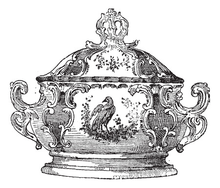 Zuppiera, un piatto da portata per il cibo, vintage illustrazione inciso. Dizionario di parole e cose - Larive e Fleury - 1895. Archivio Fotografico - 35185296