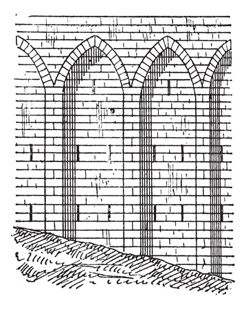Retaining wall, vintage engraved illustration. Dictionary of words and things - Larive and Fleury - 1895. Ilustração