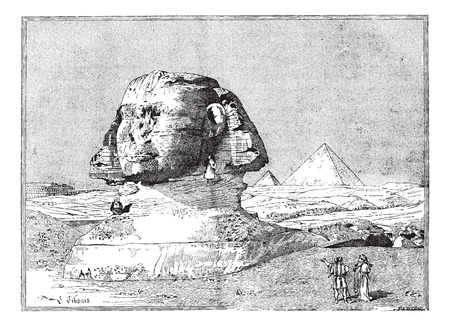esfinge: Esfinge, cerca de las ruinas de Memphis, Egipto, vintage grabado ilustración. Diccionario de palabras y las cosas - Larive y Fleury - 1895.