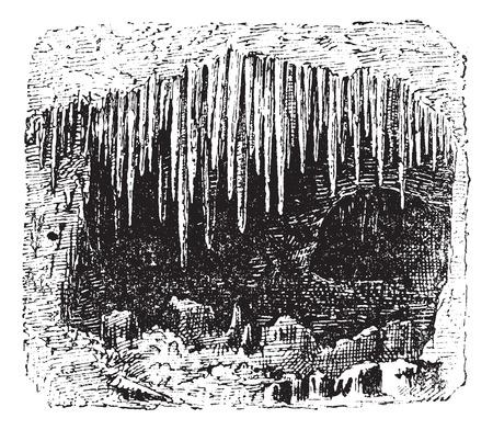 cueva: Estalactitas en cueva, cosecha ilustración grabada. Diccionario de palabras y las cosas - Larive y Fleury - 1895.