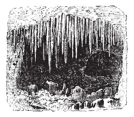 deposition: Stalactite in cave, vintage engraved illustration. Dictionary of words and things - Larive and Fleury - 1895. Illustration