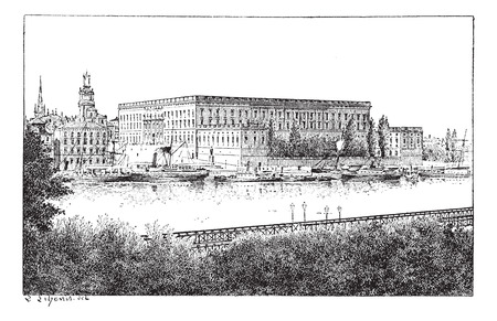 Royal palace in Stockholm, Sweden, vintage engraved illustration. Dictionary of words and things - Larive and Fleury - 1895.