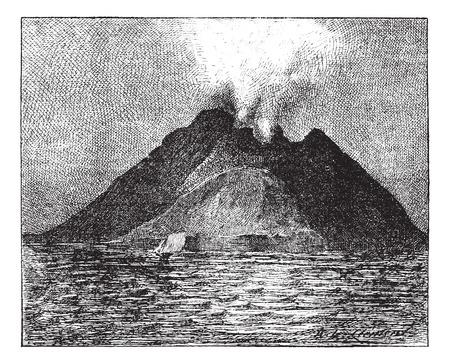 噴火火山、ストロンボリ島、イタリア、ビンテージ刻まれた図。辞書の単語との事 - Larive、フルーリ - 1895年。