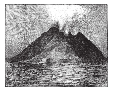 erupting: Erupting volcano, Stromboli, Italy, vintage engraved illustration. Dictionary of words and things - Larive and Fleury - 1895.
