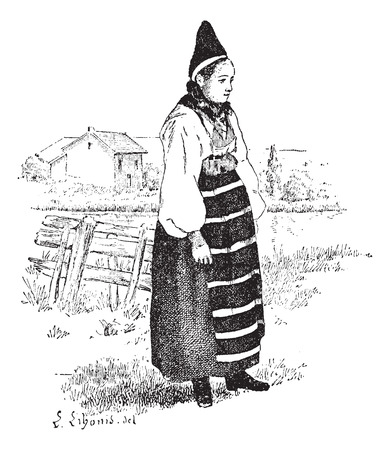 Peasant in the province of Dalarna, Sweden, vintage engraved illustration. Dictionary of words and things - Larive and Fleury - 1895.