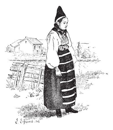 köylü: Dalarna, İsveç, bağbozumu oyulmuş şekilde ilinde Köylü. Larive ve Fleury - - 1895 kelime ve yapılacaklar hakkında Sözlük.