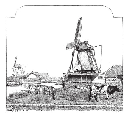 Mills, Zaandam (Holland), vintage engraved illustration. Dictionary of words and things - Larive and Fleury - 1895.
