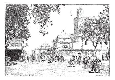 algeria: Street of the Great Mosque, Tlemcen, Algeria, vintage engraved illustration. Dictionary of words and things - Larive and Fleury - 1895. Illustration
