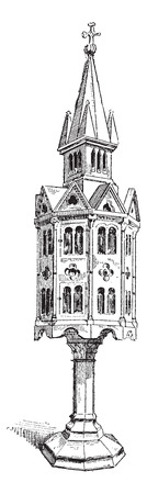 tabernacle: Old engraved illustration of Church tabernacle of thirteenth century isolated on a white background. Dictionary of words and things - Larive and Fleury