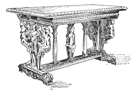 vintage furniture: Old engraved illustration of Table of sixteenth century. Dictionary of words and things - Larive and Fleury