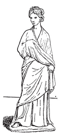 statuette: Old engraved illustration of Tanagra statuette, which is found in excavation. Dictionary of words and things - Larive and Fleury - 1895