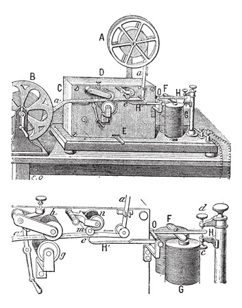 telegraph: Telegraph, Morse apparatus,  vintage engraved illustration. Dictionary of words and things - Larive and Fleury - 1895. Illustration