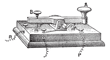 telegraph: Telegraph, morse key, vintage engraved illustration. Dictionary of words and things - Larive and Fleury - 1895.