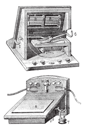 electromagnetic: Telephone  microphone ader, vintage engraved illustration. Dictionary of words and things - Larive and Fleury - 1895.