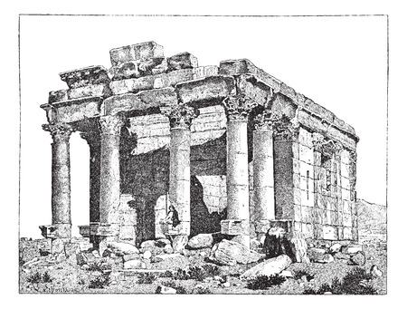 roman columns: Temple of Diocletian, Palmyra, Syria, vintage engraved illustration. Dictionary of words and things - Larive and Fleury - 1895. Illustration