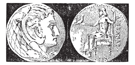 greek coins: Tetradrachm, vintage engraved illustration. Dictionary of words and things - Larive and Fleury - 1895.