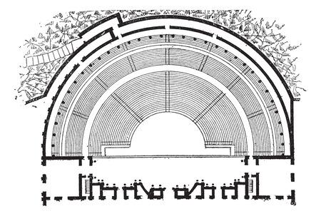 teatro antiguo: Teatro romano, Orange, Francia, cosecha ilustración grabada. Diccionario de palabras y las cosas - Larive y Fleury - 1895. Vectores