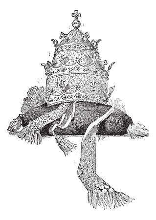 clergy: Tiara en fondo blanco, ilustraci�n de la vendimia grabado. Diccionario de palabras y las cosas - Larive y Fleury - 1895.