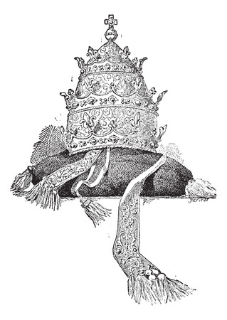 clergy: Tiara on white background, vintage engraved illustration. Dictionary of words and things - Larive and Fleury - 1895.