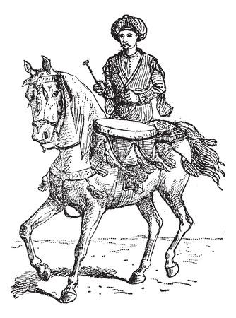 illustrazione uomo: Timpani, o timpani, vintage illustrazione inciso. Uomo con timpano a cavallo. Dizionario di parole e cose - Larive e Fleury - 1895.