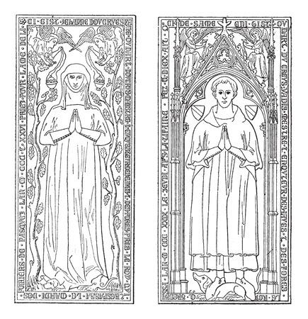 currently: Tombstones, currently in the chancel of church of Saint-gervals, vintage engraved illustration. Dictionary of words and things - Larive and Fleury - 1895.