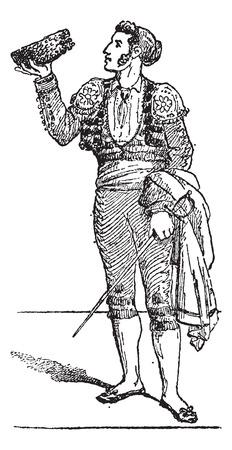 torero: Ein Toreador oder Torero oder toureiro, Jahrgang gravierte Darstellung. W�rterbuch der W�rter und Dinge - Larive und Fleury - 1895.