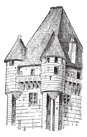 Turrets, vintage engraved illustration. Dictionary of words and things - Larive and Fleury - 1895.  イラスト・ベクター素材