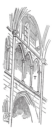 Triforium, vintage engraved illustration. Dictionary of words and things - Larive and Fleury - 1895.