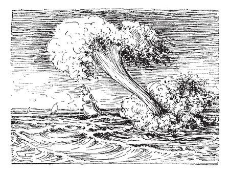 waterspout: Tromba, illustrazione d'epoca inciso. Dizionario di parole e cose - Larive e Fleury - 1895.